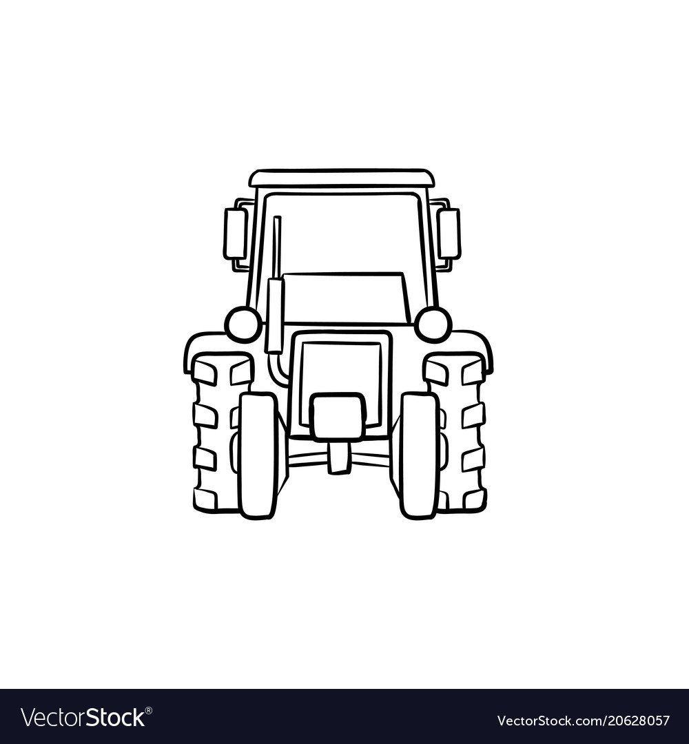 Tractor hand drawn sketch icon