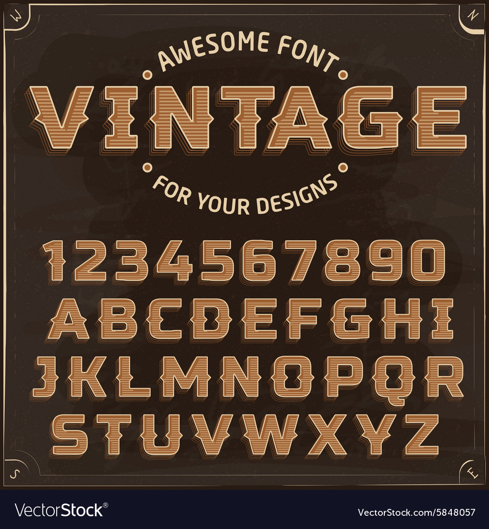 Vintage Label Font with shadow vector image