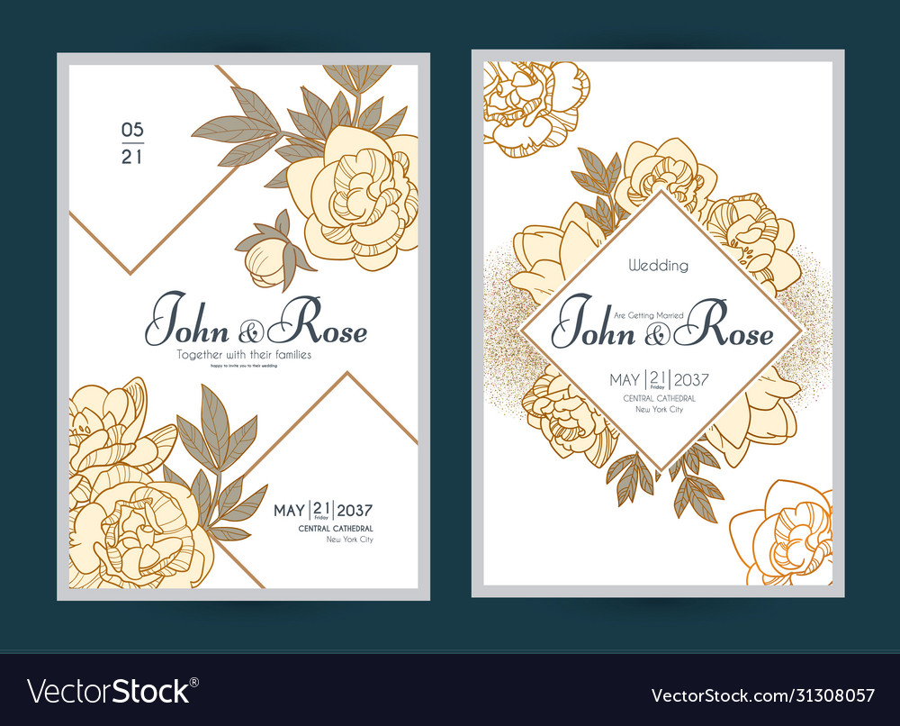 Wedding invitation card set with peony flowers