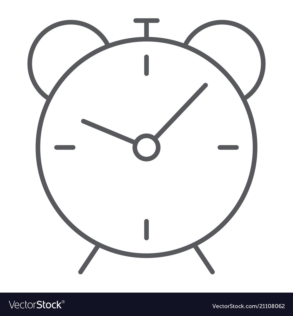 Alarm clock thin line icon time and hour