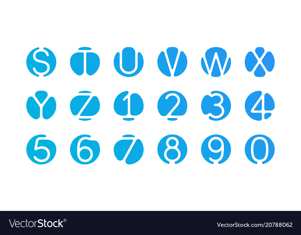 Alphabet letters numbers logo blue icons