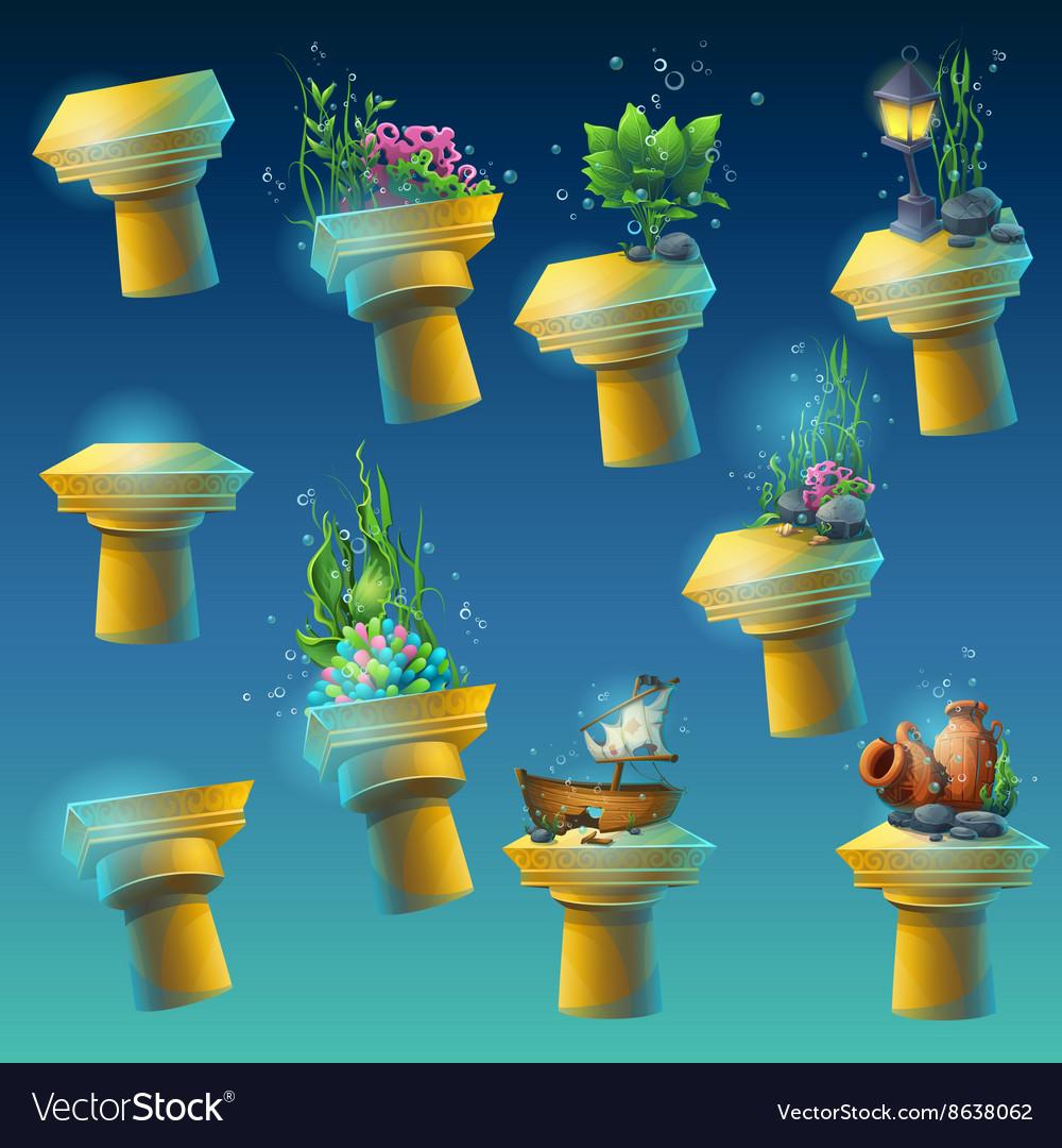Big set of underwater ancient columns vector image
