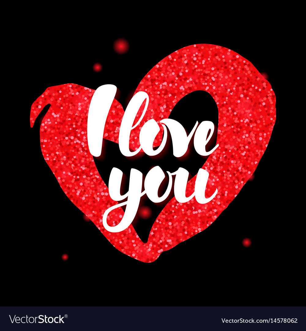 Black red i love you Royalty Free Vector Image