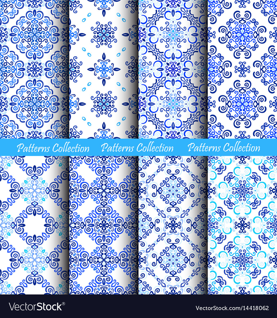 Blue backgrounds weave fabric patterns vector image