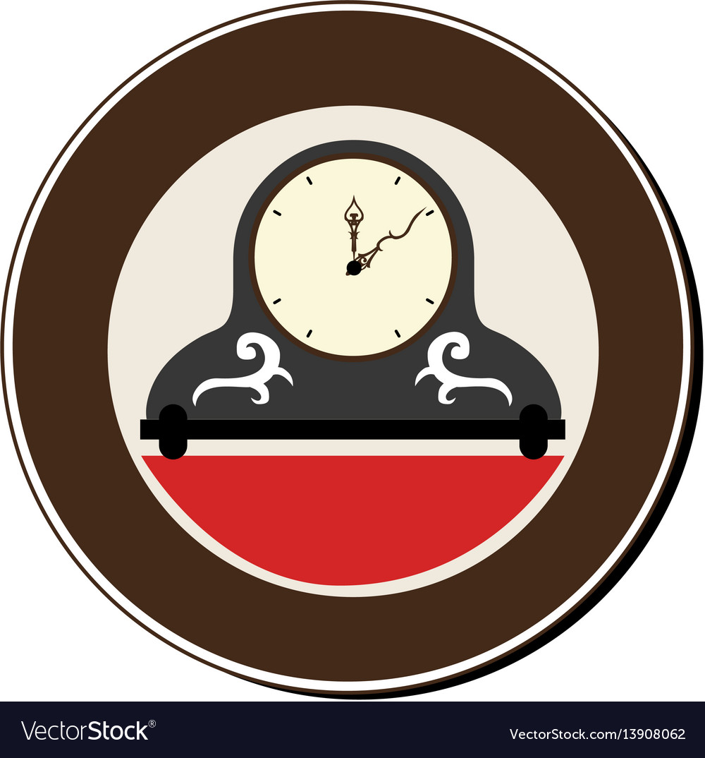 Circular frame with vintage clock vector image