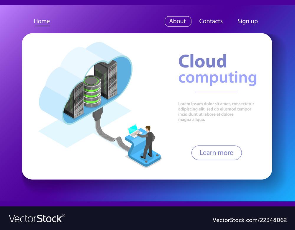 Cloud computing technology isometric flat