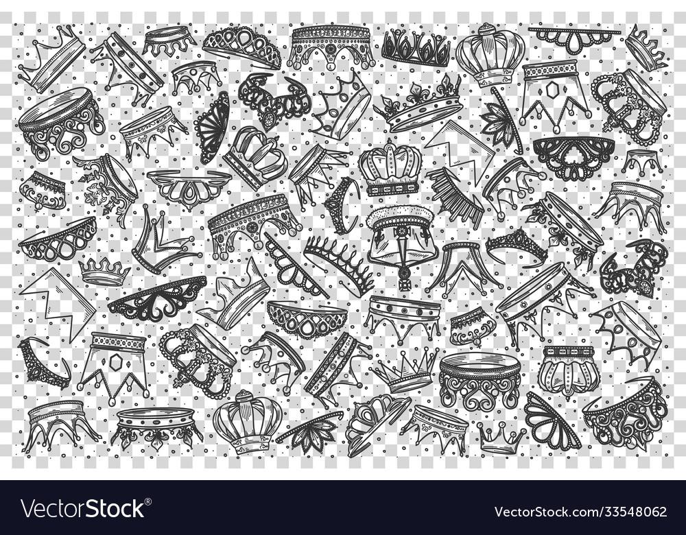Crowns doodle set