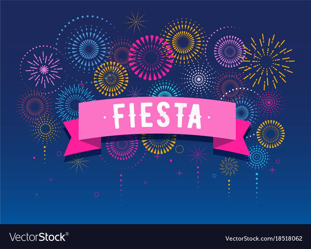 Fiesta fireworks and celebration poster design