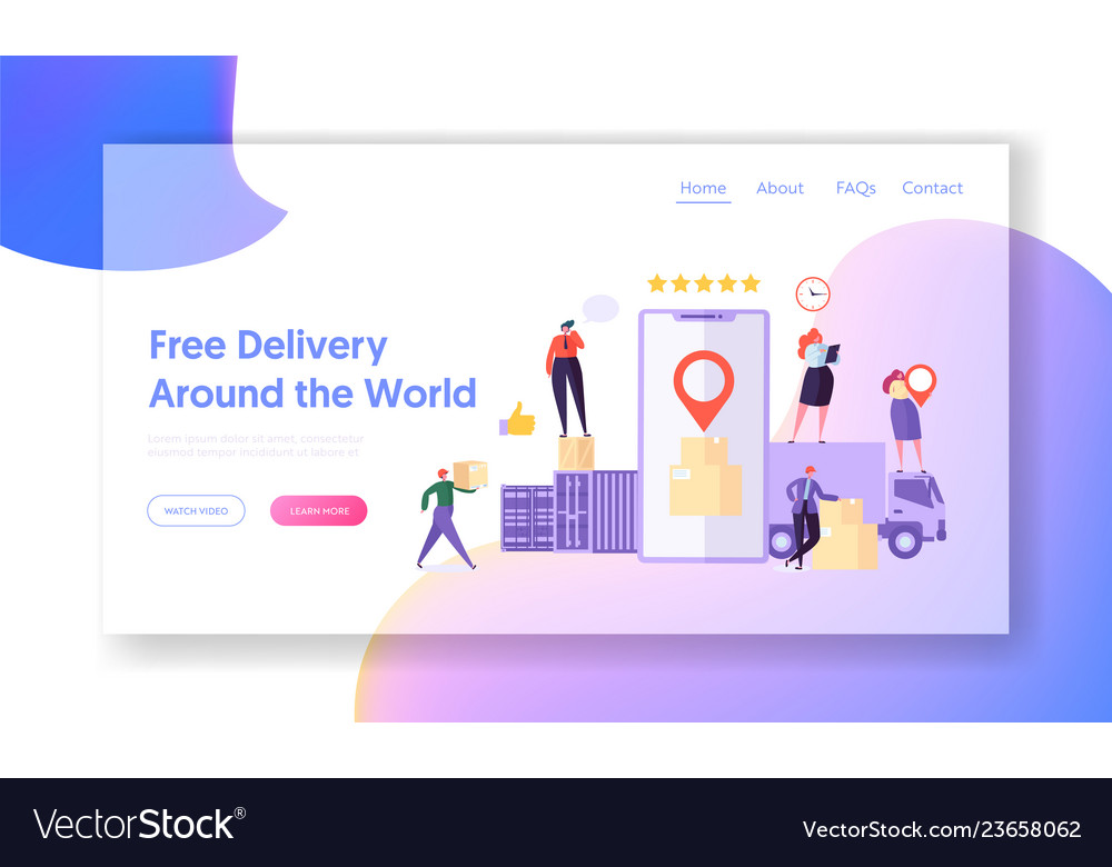 Free delivery around world landing page mobile app