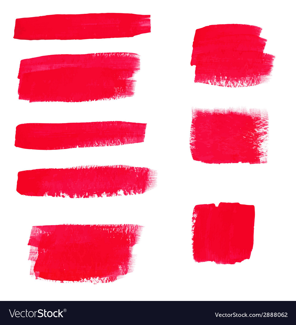 Hand-drawing red textures of brush strokes in