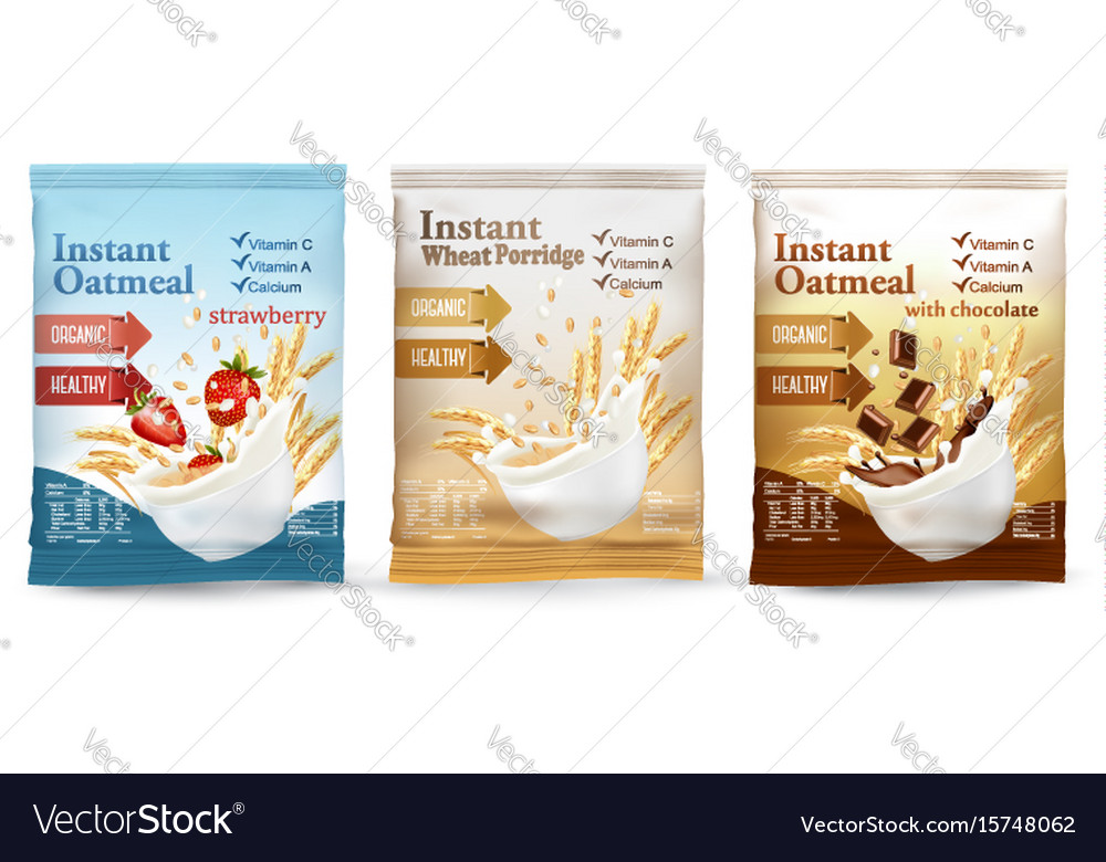Instant porridge advert concept milk flowing into