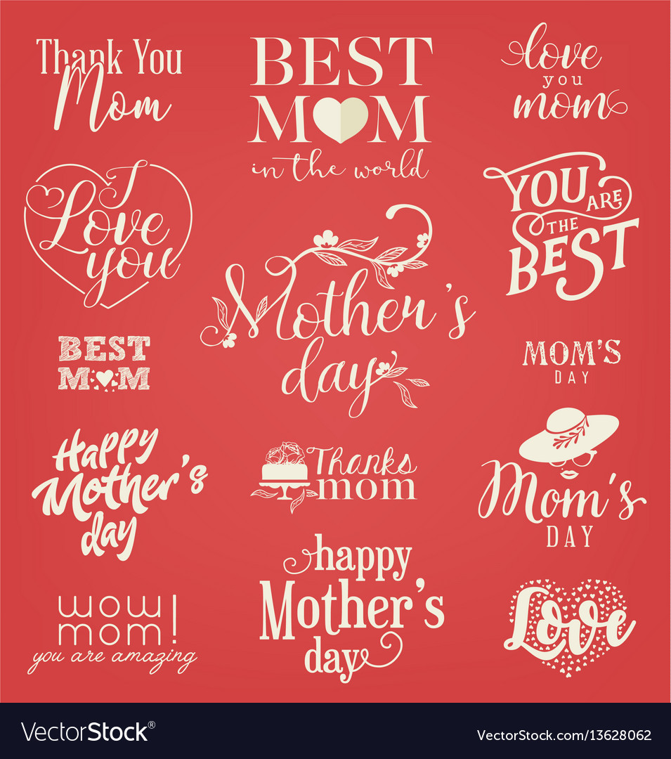Mothers day design elements badges and labels