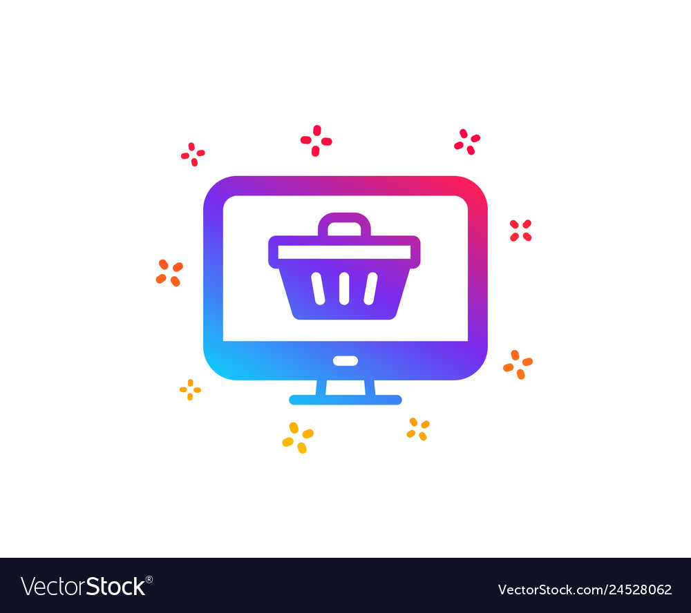 Online shopping cart icon monitor sign