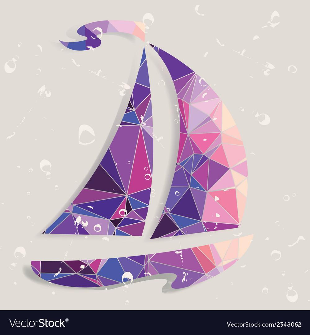 Retro ship background made of triangles