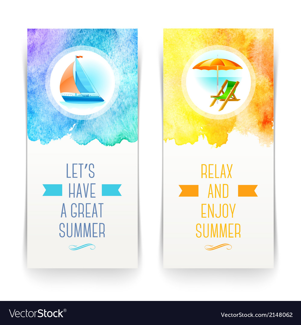 Summer holidays and travel banners with greetings