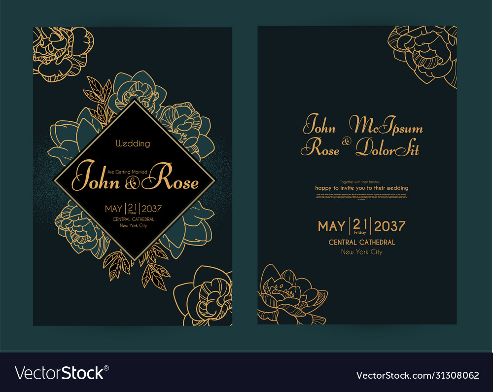Wedding invitation card set with peony flowers and