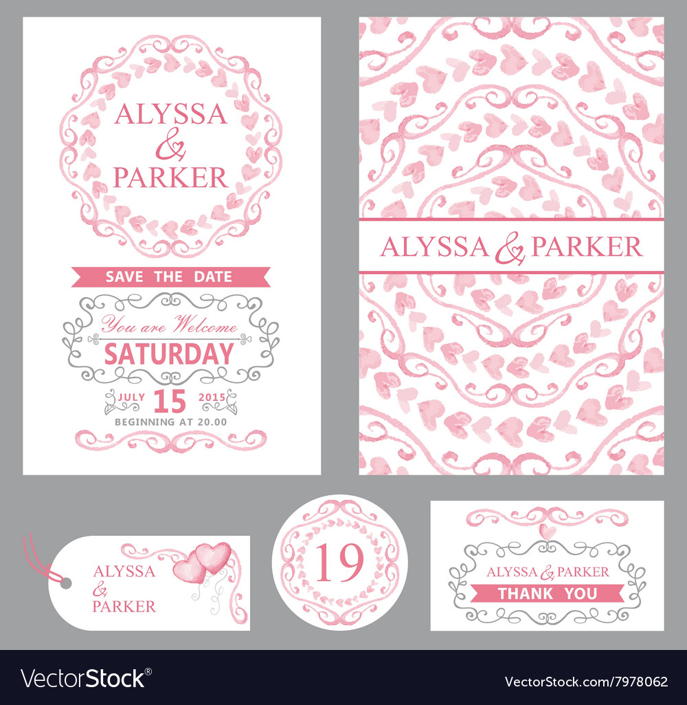 Wedding invitation setPink decorgrey swirls