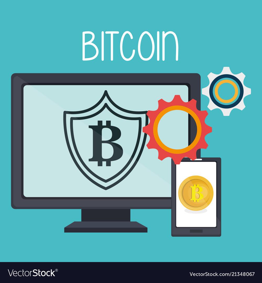 Bitcoin business with desktop computer