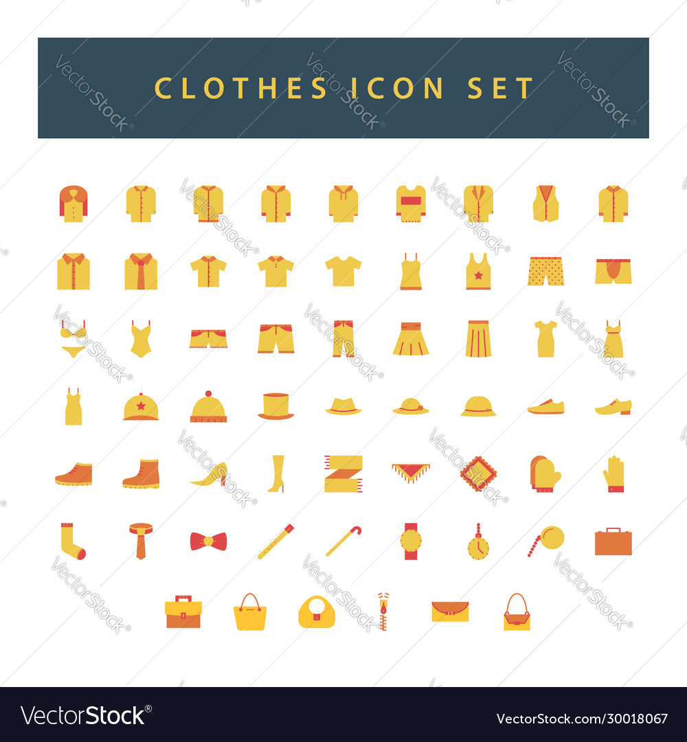 Clothes icon set with colorful modern flat style