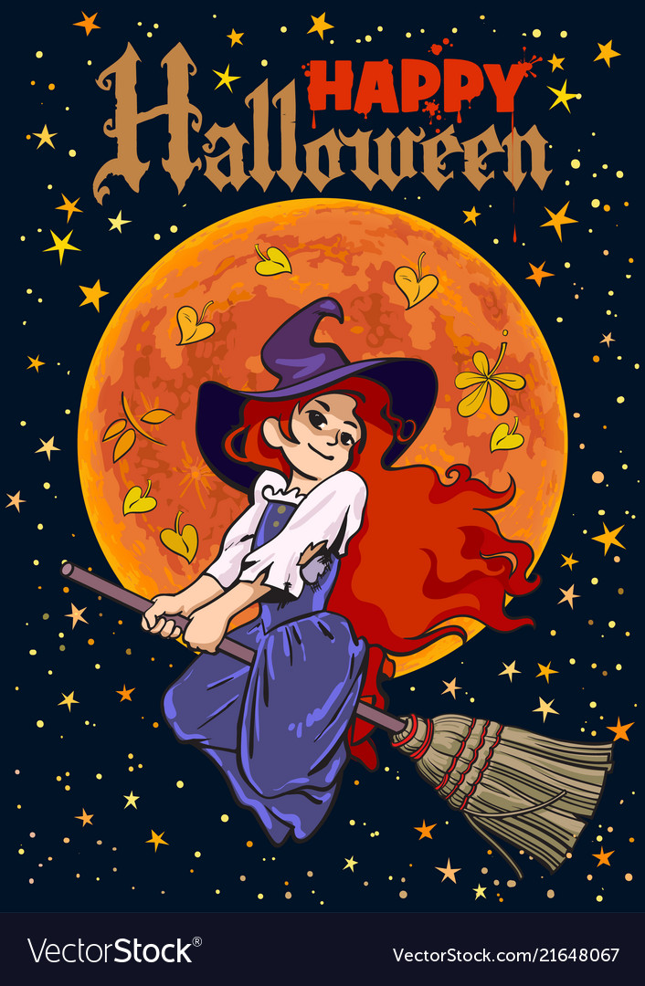 Halloween Poster Art.Halloween Poster Cartoon Young Witch Flying On