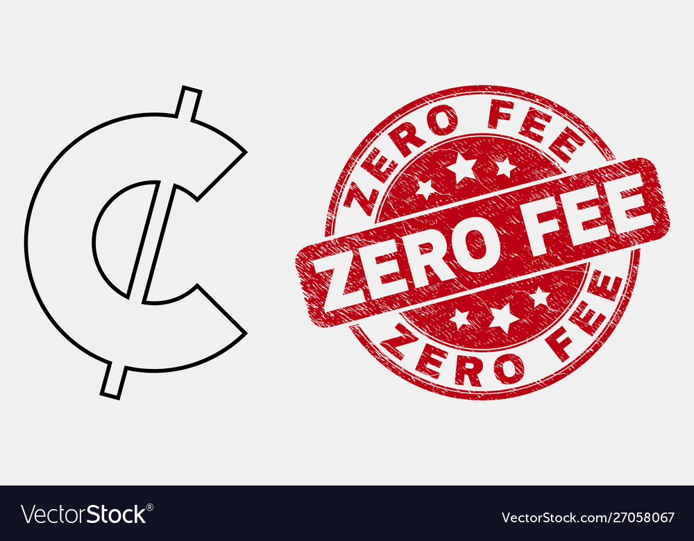 Line cent icon and distress zero fee stamp