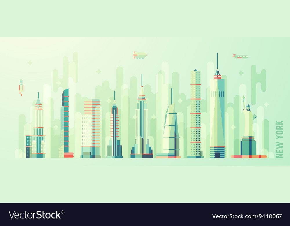 New York city skyline flat style