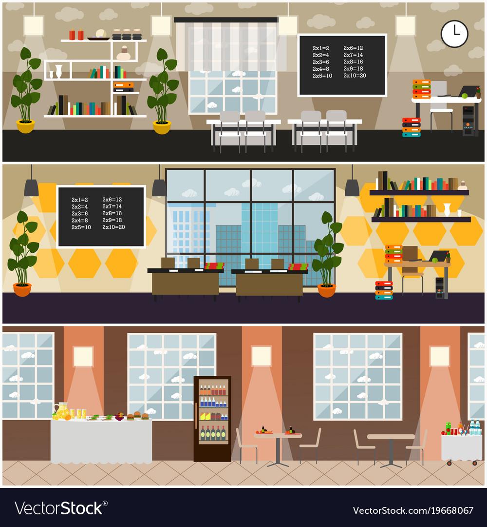 School interior flat poster set