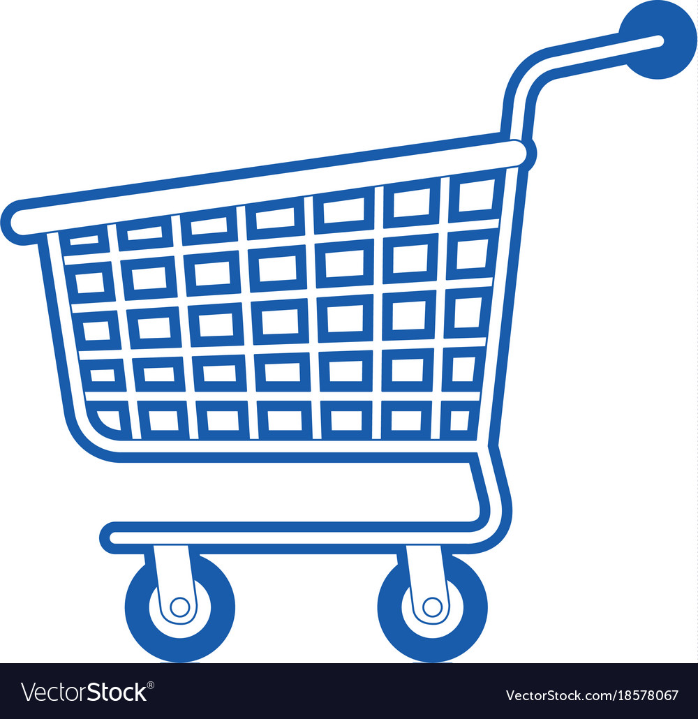 shopping cart icon in blue silhouette royalty free vector