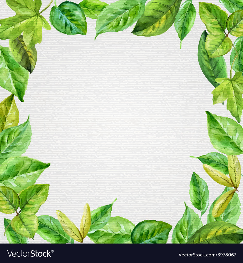 Square frame made of spring leaves in watercolor