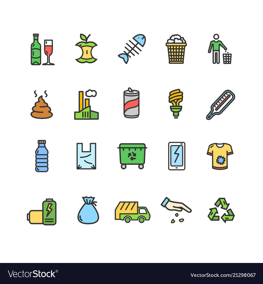 Trash signs color thin line icon set