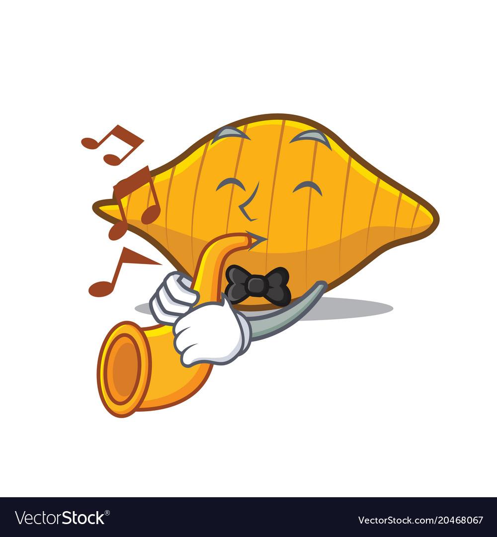 With trumpet conchiglie pasta mascot cartoon