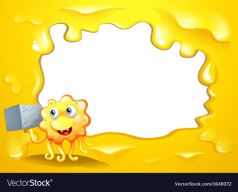 A yellow border design with a smiling monster