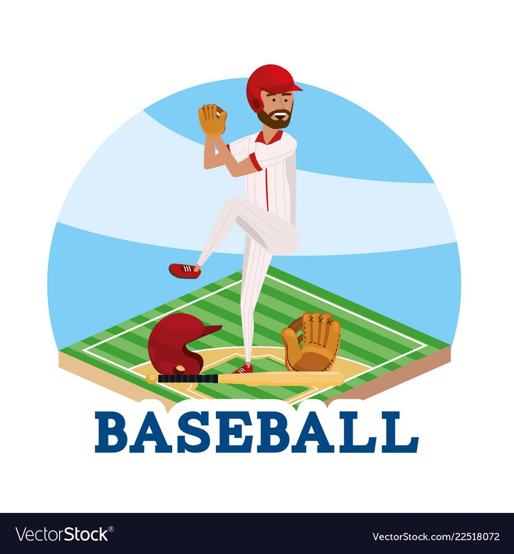 Baseball player with professional sport uniform