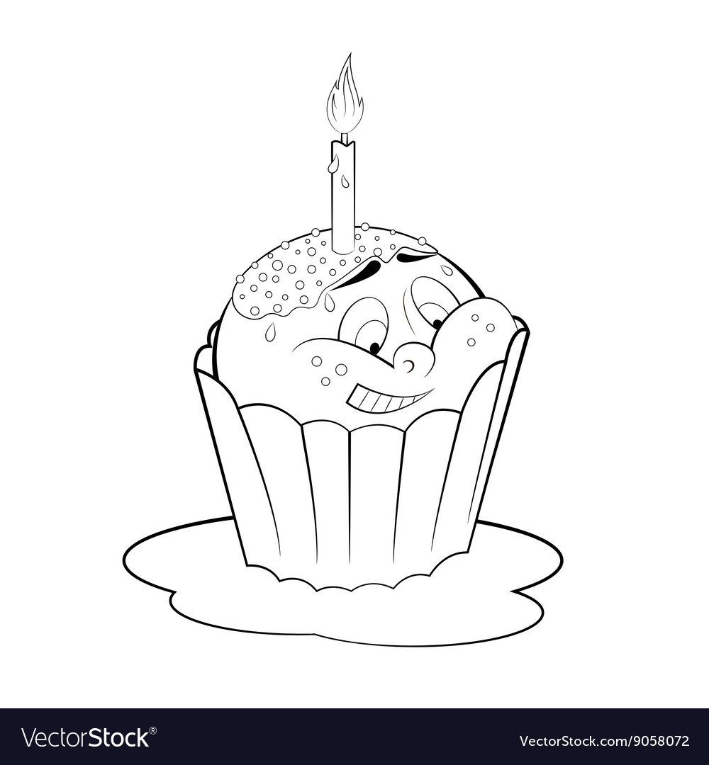 Cartoon Cupcake With Candle Coloring Page