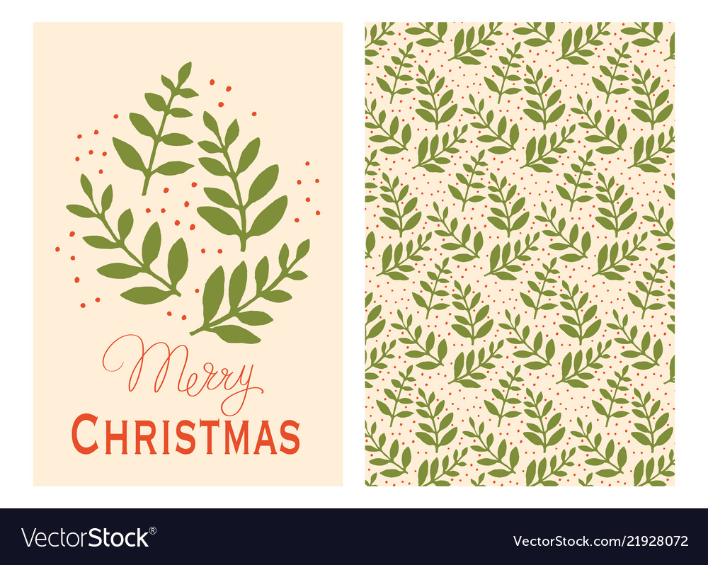 Christmas cards with green leaves