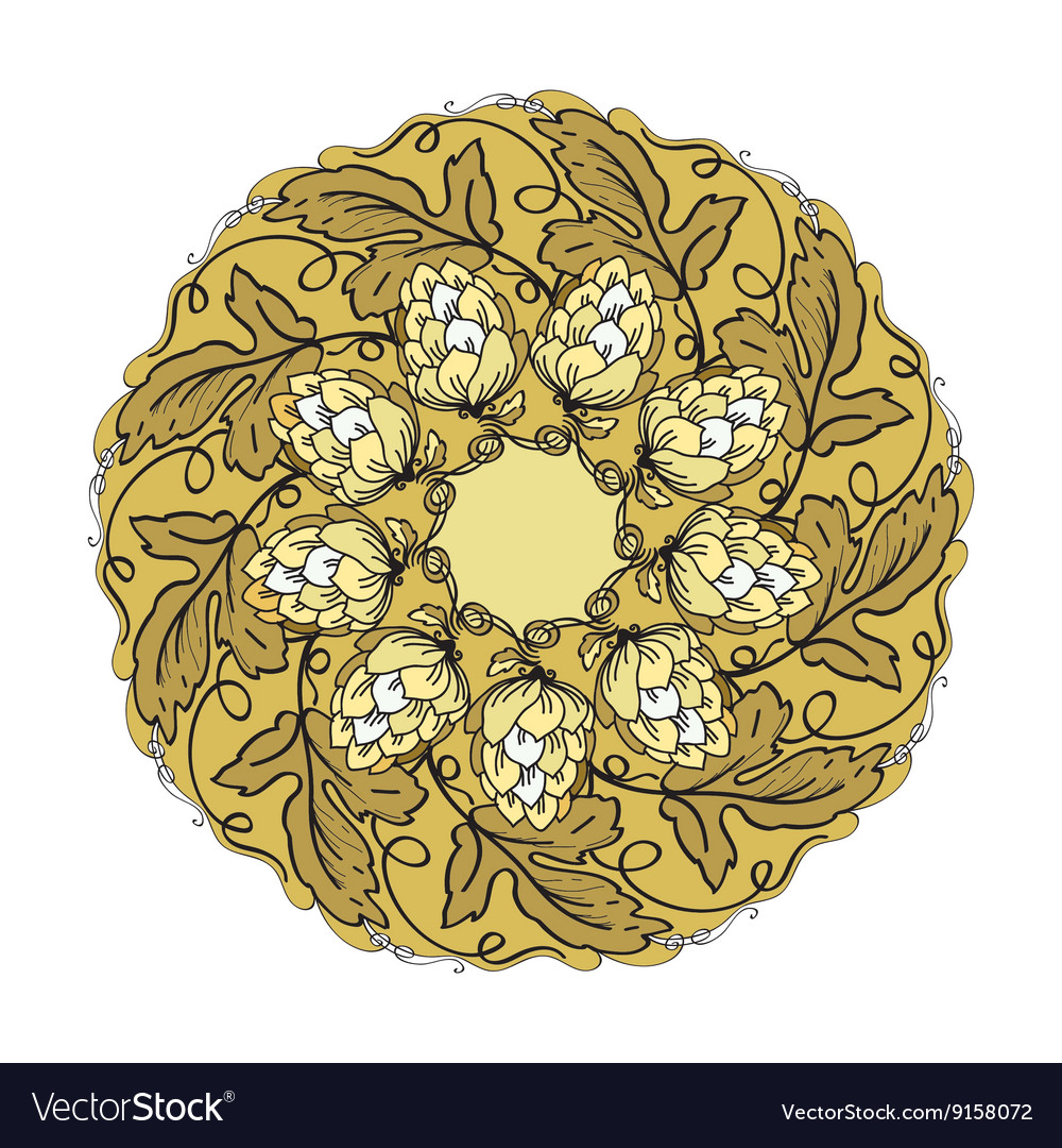 Hand drawn mandala with hop floral ornament