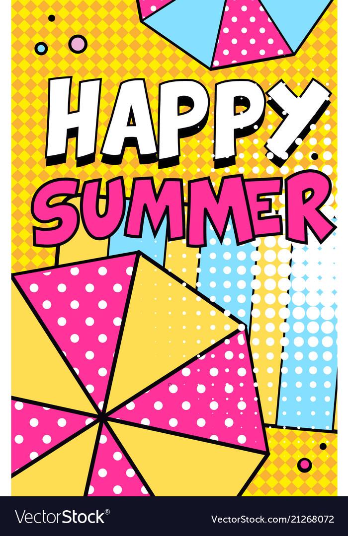 Happy summer banner bright retro pop art style
