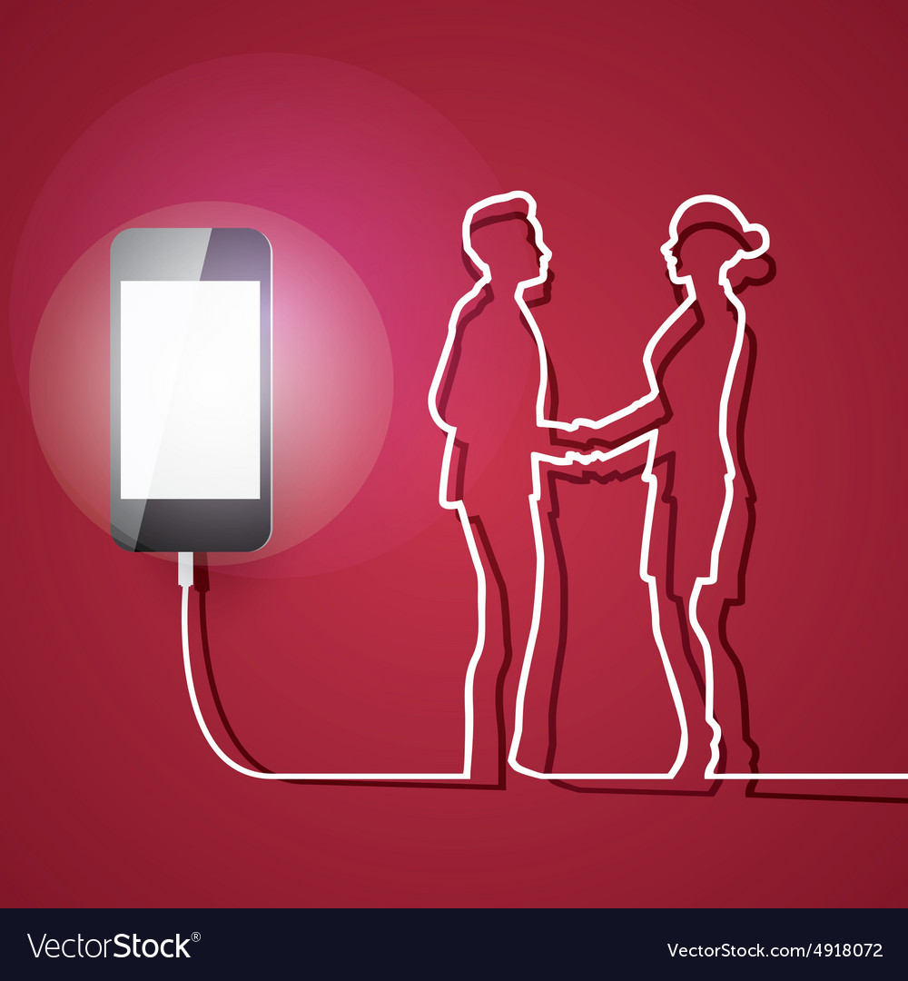 Mobile phone with charger man and woman connection