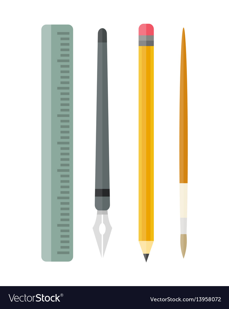 Paint and writing tools collection flat style