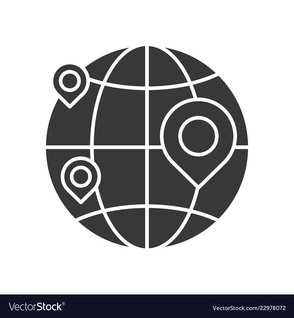 Pin on globe location or branch of business icon