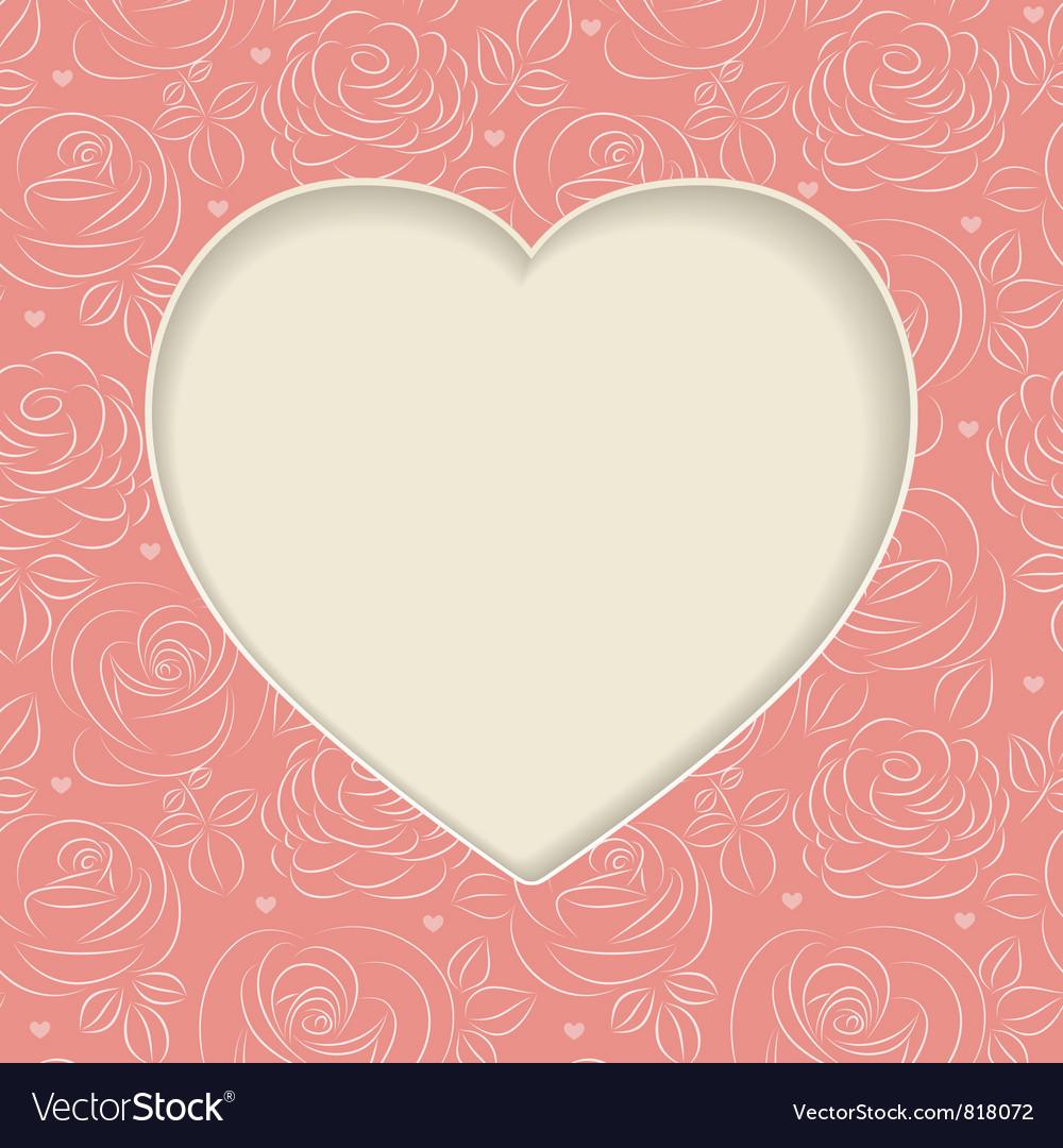 Pink roses frame vector image