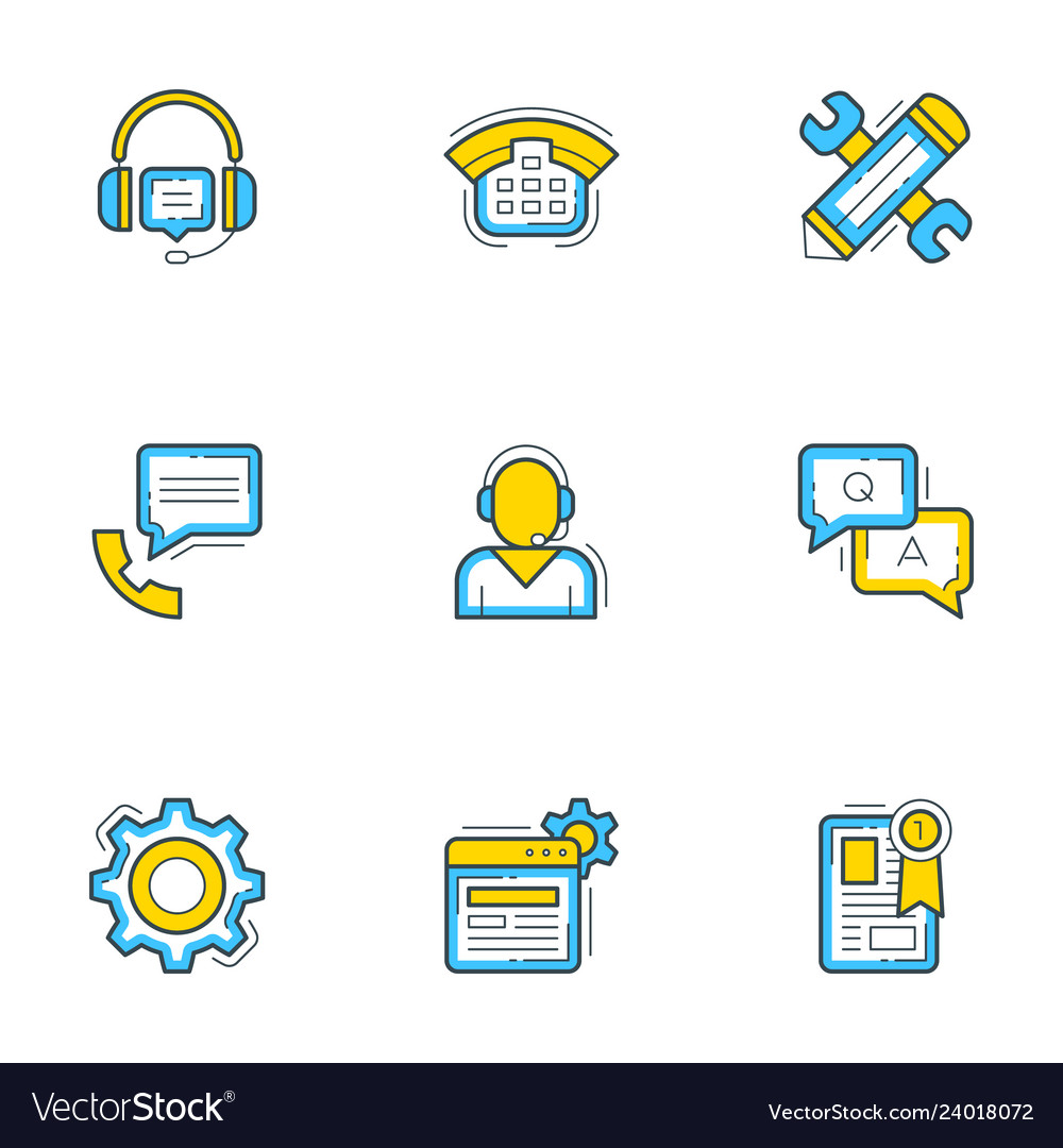 Set of 9 flat line business icons help andf