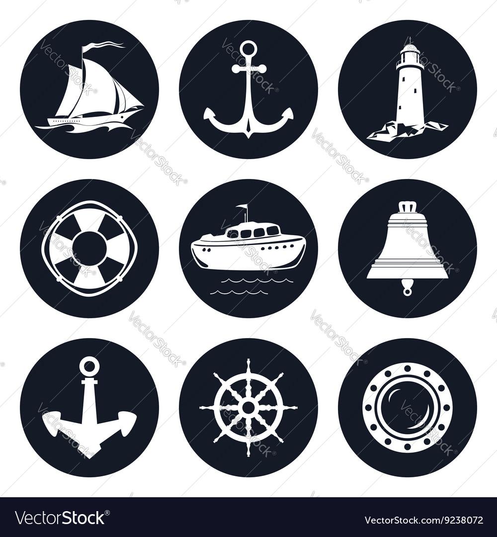 Set of Round Marine Icons