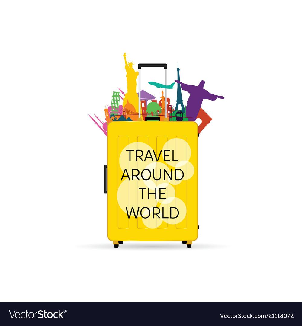 Travel yellow bag with symbols