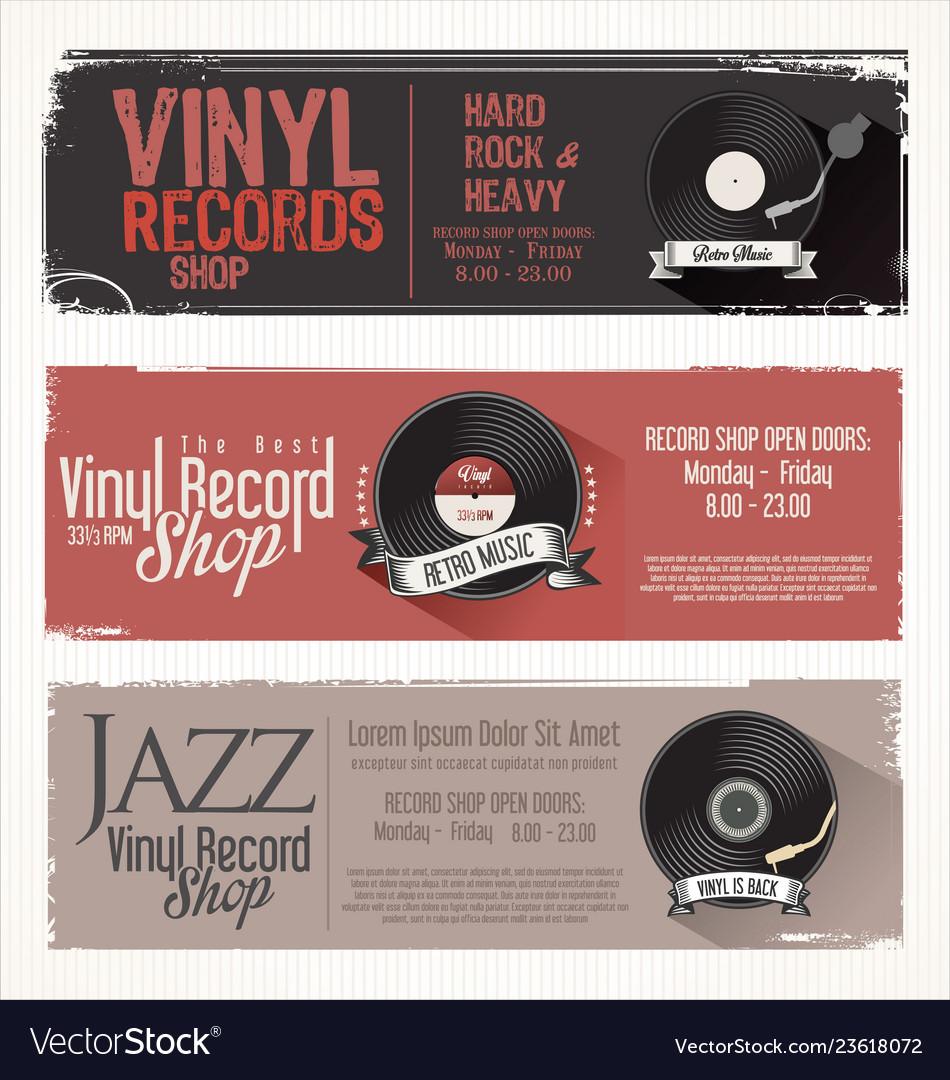Vinyl record shop retro grunge banner 4