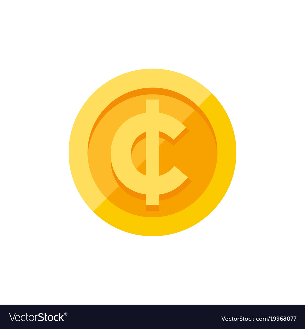 Cent Currency Symbol On Gold Coin Flat Style Vector Image