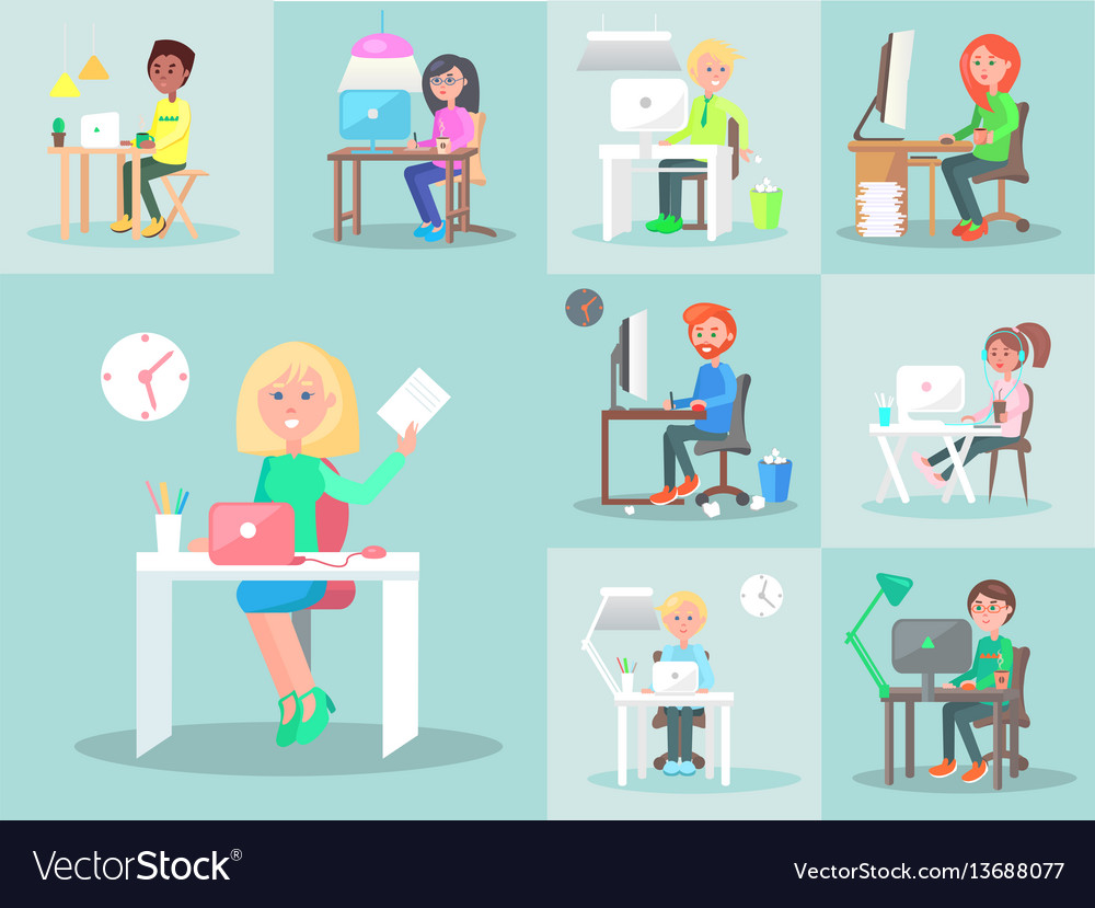 Characters work at computer in office big set