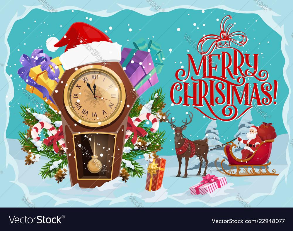 Christmas gifts santa clock and reindeer sleigh