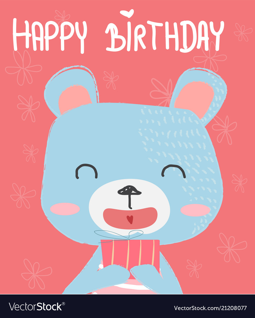 Cute bear holding a gift box for birthday card