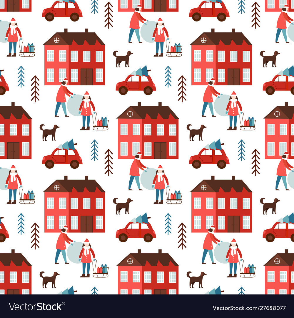 Cute christmas and new year seamless pattern